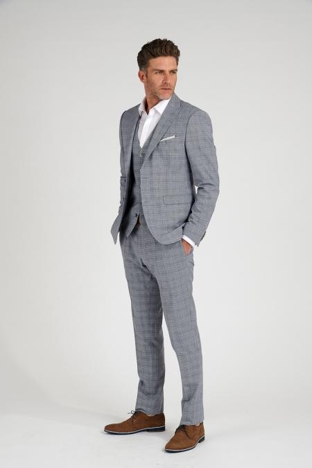 Veste de costume bleue grisée MIKE
