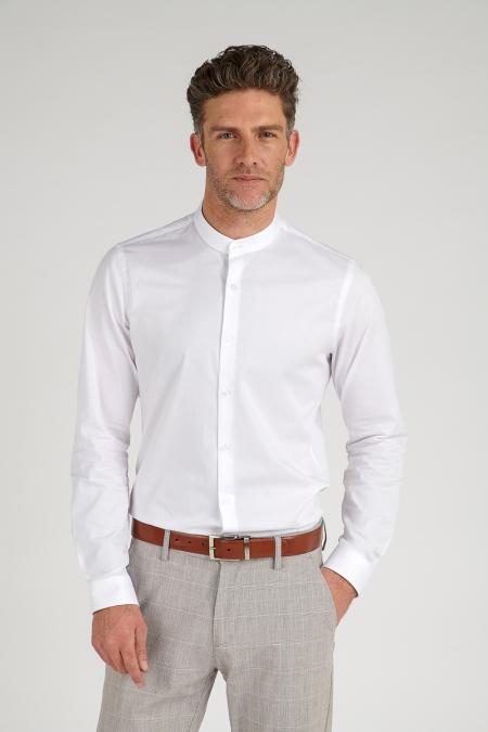 Chemise col mao blanc silvan