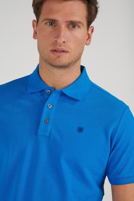 Polo piqué bleu Lorenzo
