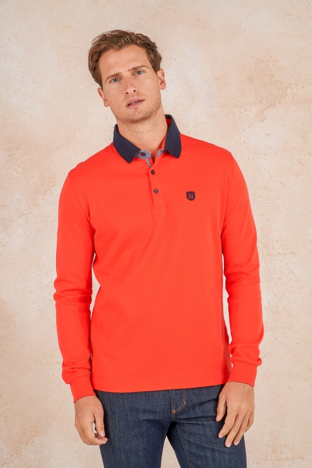 Polo manche longue orange Orso