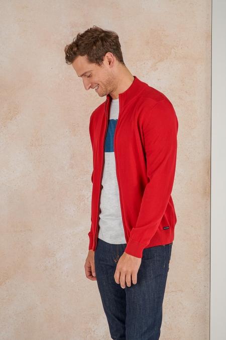Gilet zip rouge Antoine