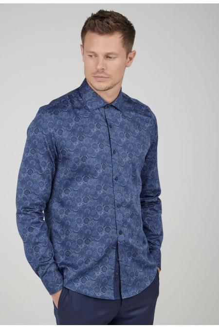 Chemise bleue imprimé Tom