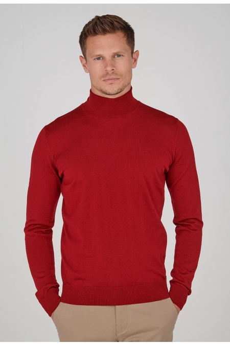 Pull rouge col roulé Davy