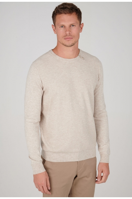 Pull beige col RDC