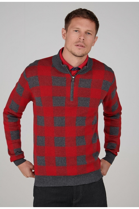 Pull rouge col montant Roman