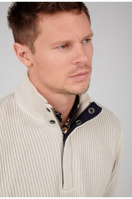 Pull ecru col montant Quincy