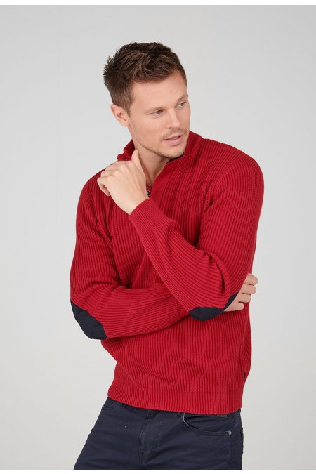 Pull rouge col montant Quincy