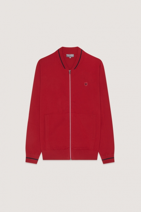 Gilet fin rouge col teddy