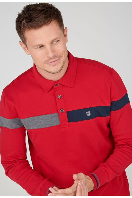 Polo rouge col chemise Rico