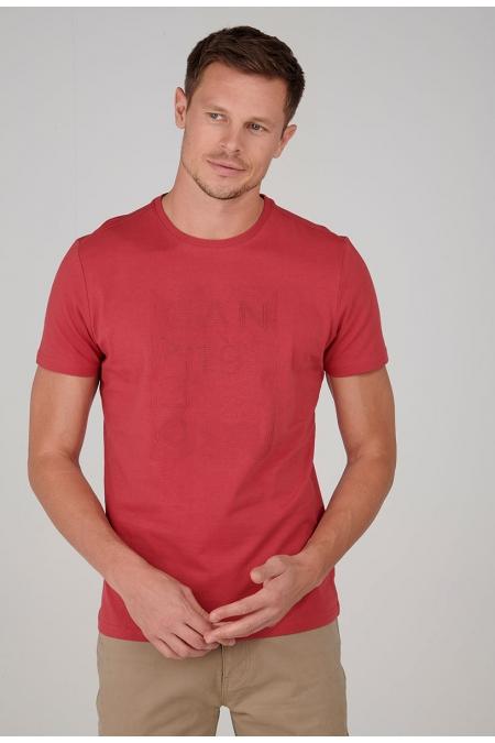 T-shirt framboise col rond Peyo