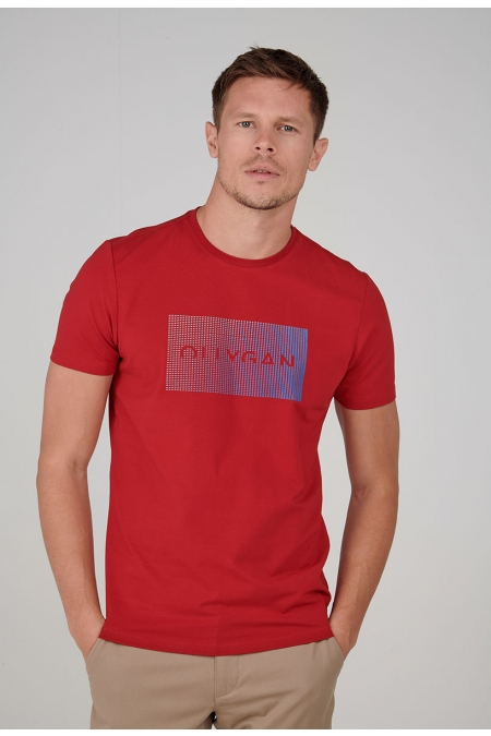 T-shirt rouge col rond Pierric