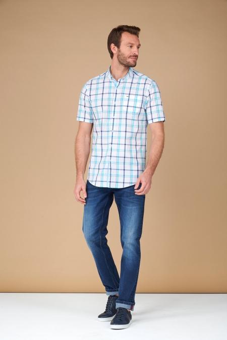 Chemise manches courtes à carreaux