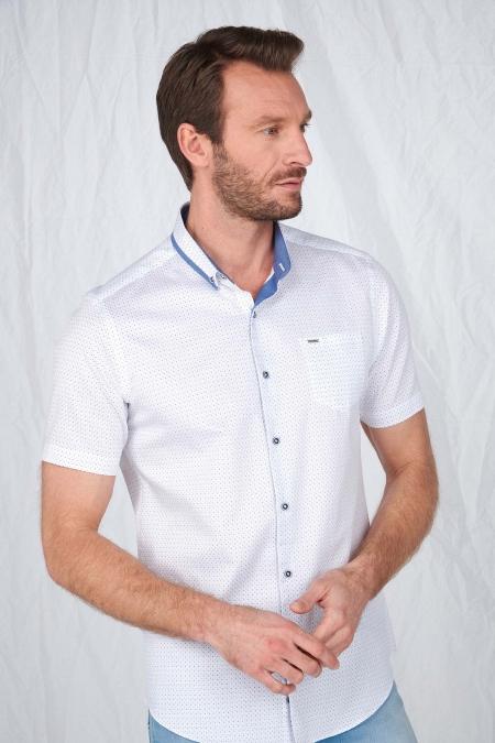 Chemise manche courtes imprimée col contrasté