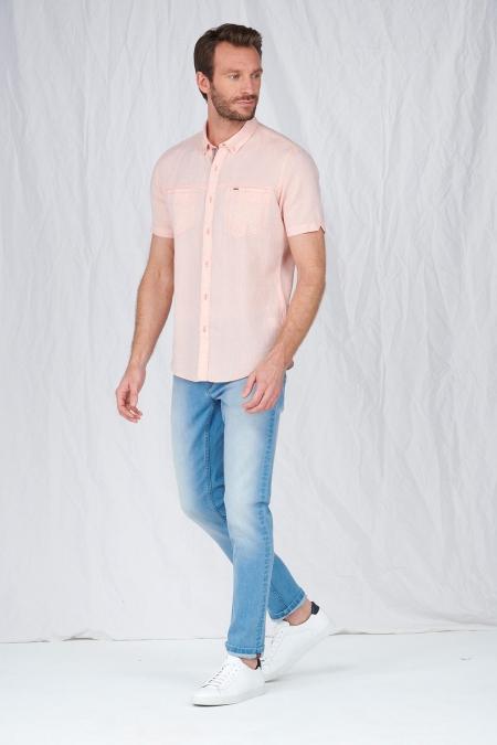 Chemise manches courtes lin poches poitrine