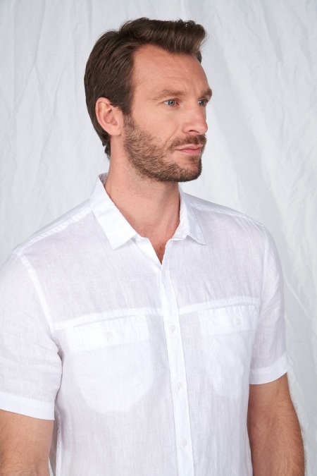 Chemise regular manches courtes 100% lin