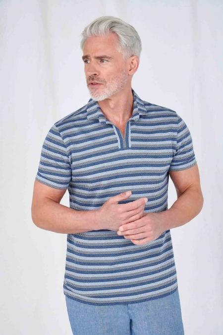 Polo rayé col chemise