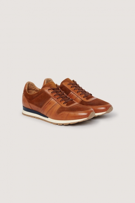 Sneakers cognac en cuir et nubuck