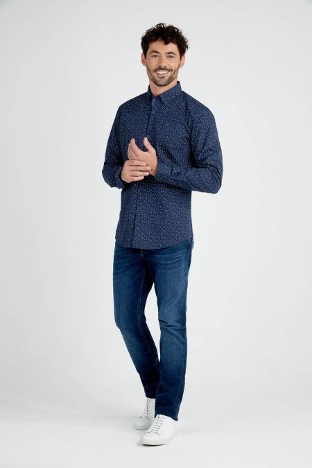Chemise coupe droite à motifs