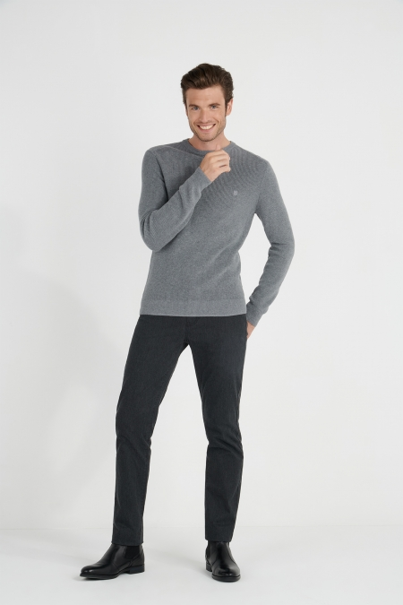 Pull col rond touche cachemire