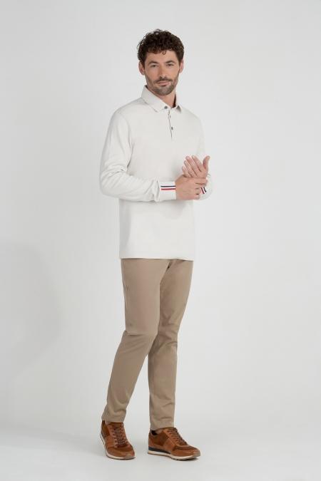 Polo manches longues détail tricolore