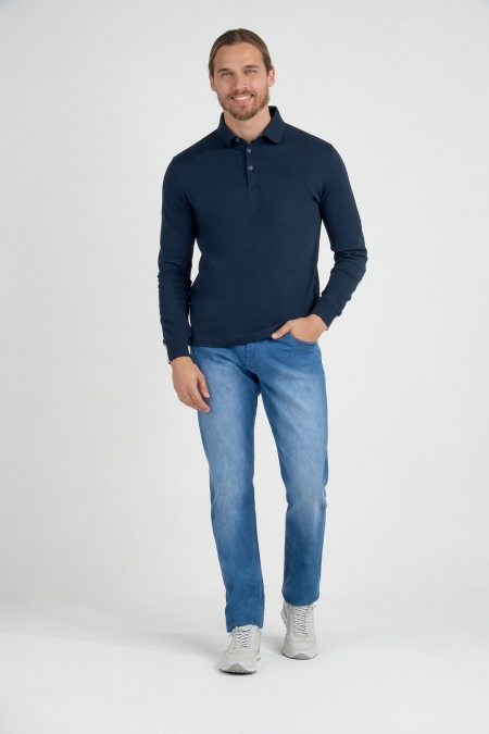 Polo bleu marine manche longue sportswear et chic avec ruban tricolore et broderie sur poitrine