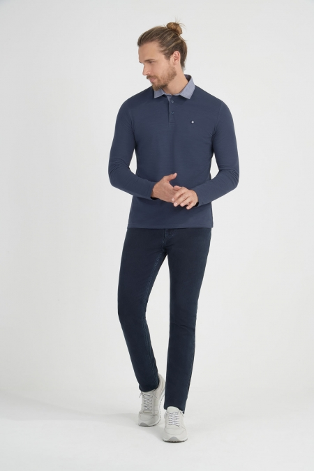 Polo maille jersey et jacquard