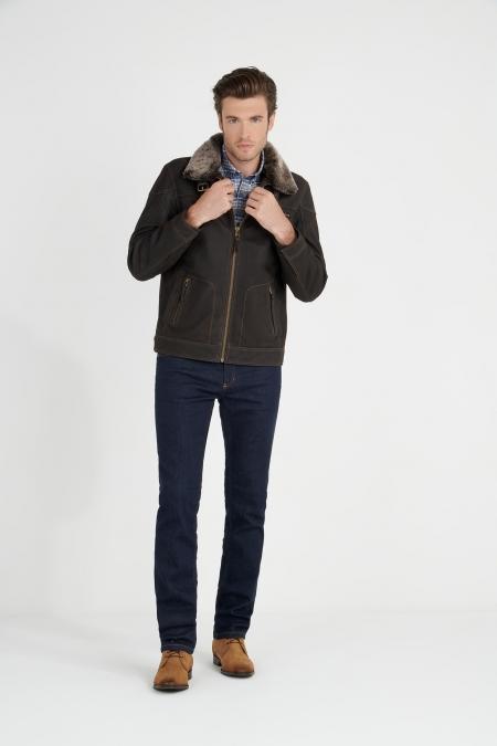 Blouson en cuir style aviateur